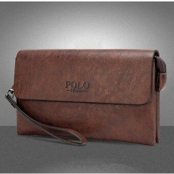 Authentic Men Handbag Large Capacity Business Clutch Long WalletCowhide Leather Purse (Brown)