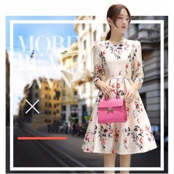 Harga Autumn New Women's Short Sleeves Large Size Dress A Word Skirt Tide - intl
