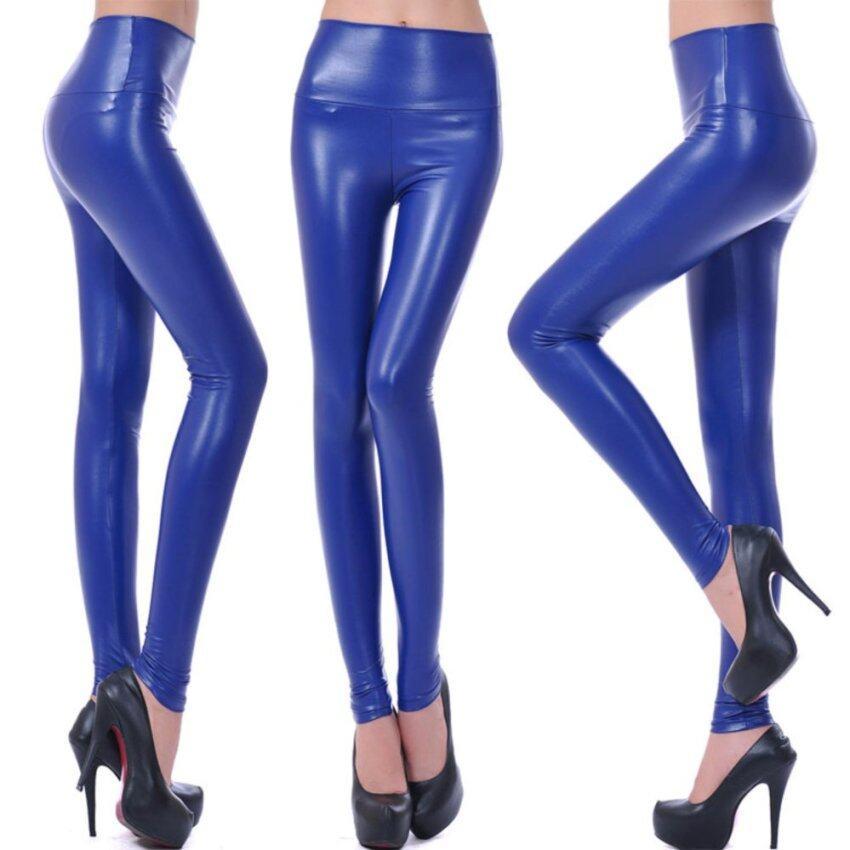 Autumn Winter Women PU Leather Leggings High Waist Silm (Sapphire) - intl