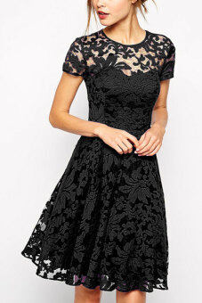 Harga AZONE O-Neck Lace Splice Dress (Black) - Intl