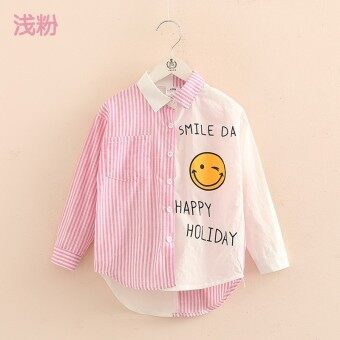 Baby tx-9336 New style girls children's spell color Top shirt (Pink) - intl