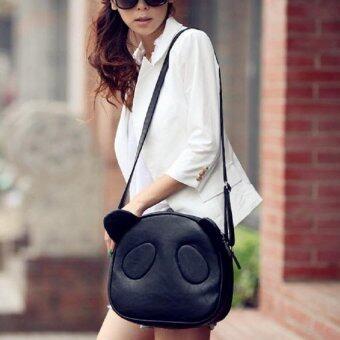 กระเป๋าสะพายข้าง กระเป๋าทรงกลมรูปหมีแพนด้า รุ่น088(สีดำ)