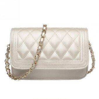 Bag Fashion กระเป๋าแฟชั่น กระเป๋าสะพายข้าง สายถักสีทอง รุ่น301 (สีขาว)