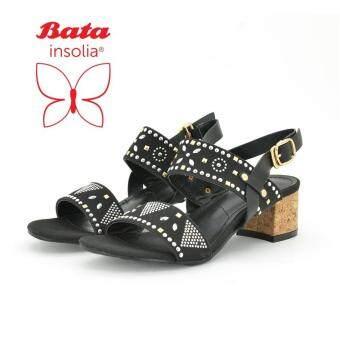 BATA INSOLIA รองเท้าผู้หญิง ส้นตึกพร้อมสายรัดข้อ LADIES'HEELS สีดำ รหัส 6616363