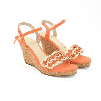 BATA รองเท้าแฟชั่น ผู้หญิง ส้นเตารีดรัดส้น LADIES'HEELS WEDGE SANDAL สีส้ม รหัส 7613003
