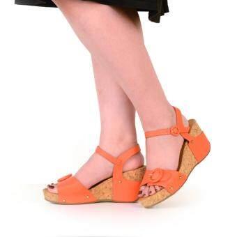 BATA รองเท้าผู้หญิง ส้นเตารีดแบบรัดส้น LADIES'HEELS WEDGE SANDAL สี ส้ม รหัส 7613812