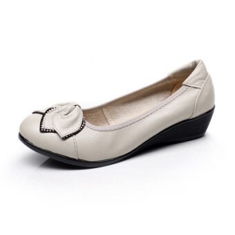 ขี้เกียจเกาหลีหนังใหม่ส้นสูง BayMini รองเท้ารองเท้าแม่ (สีเงิน 4 ซมดอกไม้ 2)
