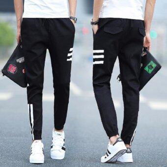 BB กางเกงเอวยางยืดเชือก มีกระเป๋า แต่งแถบข้าง (สีดำ) รุ่น208