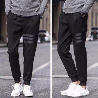 BB กางเกงวอร์มขายาว แต่งแถบข้างสีขาว กางเกงสีดำ รุ่น368