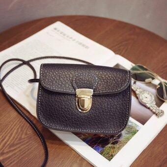 BB กระเป๋าสะพายพาดลำตัว กระเป๋าหนังแฟชั่นจิ๋ว (สีดำ) รุ่น 8003