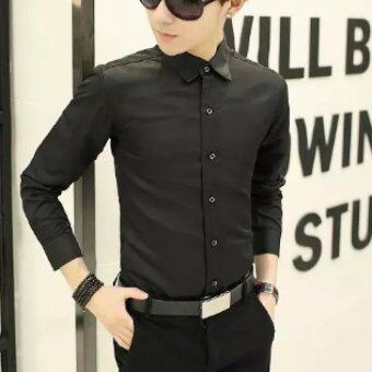 BB Ole Style เสื้อเชิ๊ต แขนยาว เข้ารูปผู้ชาย รุ่น010 สีดำ