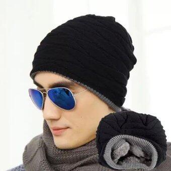 หมวกแฟชั่นถักหญ้าคาเพศ Beanies ฤดูยางฮิปฮอปสวมหมวกแก๊ปสีดำ