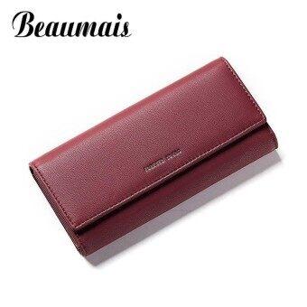 Beaumais Luxury Brand Wallet Leather Women Card Holder Phone Money Bag Coin Purse Women Long Clutch Women Wallet Female DF0422 - intl