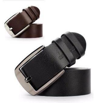 เข็มขัดผู้ชาย เข็มขัด ผู้ชาย เข็มขัดหนัง Belt Mens Jeans CasualWaistband Dress PU Leather Belt Pin Metal Buckle Strap - Black