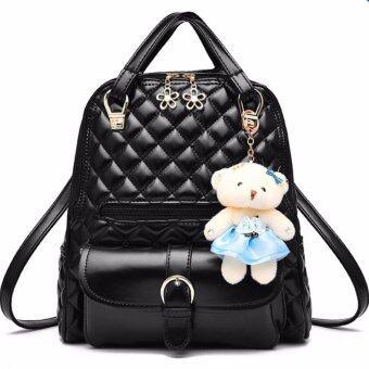 BEST RockLife 3 in 1 Women Bag Top Handle Bag Women Backpack กระเป๋าสะพายไหล่ กระเป๋าเป้สะพายหลัง -(Black)
