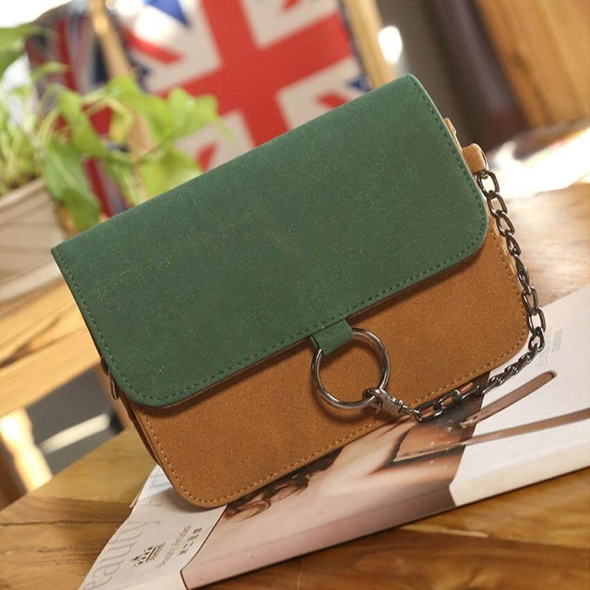 BEST กระเป๋า กระเป๋าสะพาย กระเป๋าสะพายพาดลำตัว Women Shoulder bag - R1116 Green/Brown
