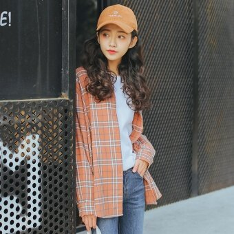BF เกาหลีลมนักเรียนแขนยาวเสื้อลายสก๊อต (สีส้ม)