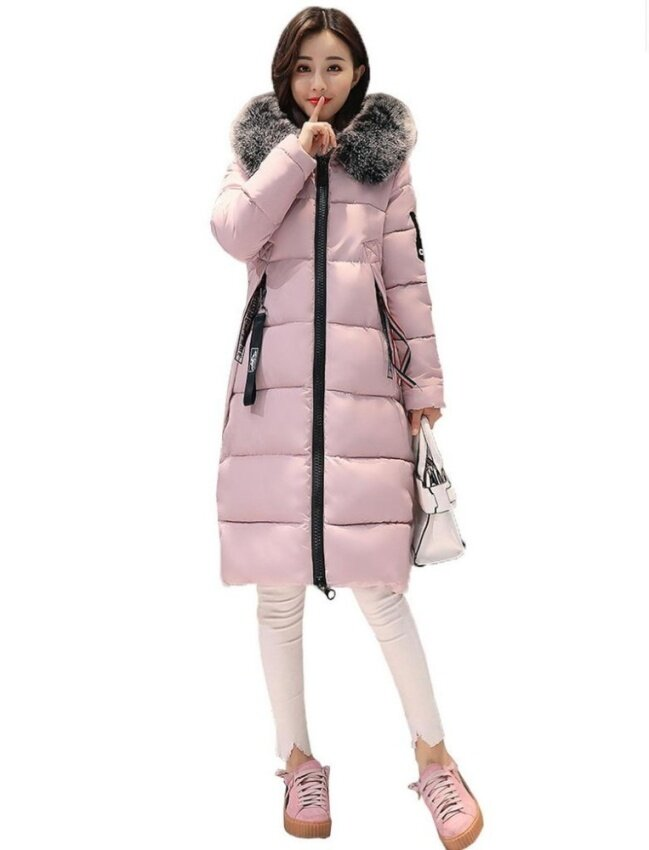 Bigood Women Ladies Slimming Thick Down Coat Long Winter Parka Jacket Pink - intl