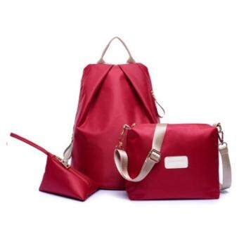 Harga Bingo Fashion 3-psc Backpack Waterproof Nylon Oxford Bags -Backpack / Shoulder Bag / Small Bag(Wine Red)