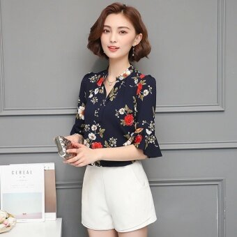 Blouses Shirts Chiffon Female Summer Shirt Korean Women V-neck Print Short-Sleeved Blouse Shirt