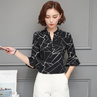 Blouses Shirts Chiffon Female Summer Shirt Korean Women V-neck Print Short-Sleeved Blouse Shirt Tops Clothing