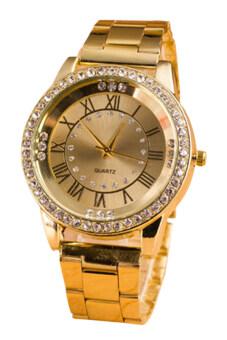 Bluelans® นาฬิกาควอทซ์พลอยเพศคล้ายคลึงโรมัน (ทอง)