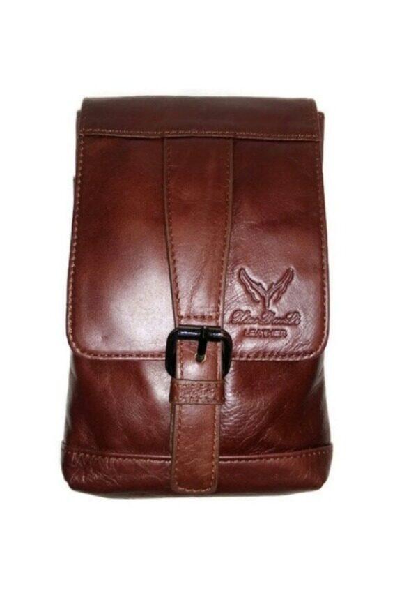 BOGESI กระเป๋าสะพายใบเล็กใส่สตางค์-ใส่มือถือแบบคาดเข็มขัดได้ หนังแท้ รุ่น C003-4(สีน้ำตาล)