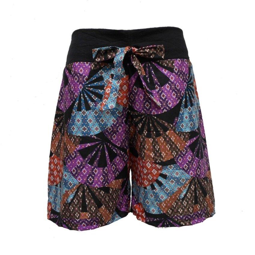 Bonya กางเกงผู้หญิงขาสั้น กางเกงผ้าขาสั้น กางเกงเอวยืด - สีหลากหลาย