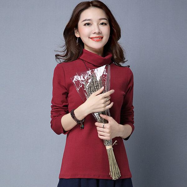 เกาหลีหญิงแขนยาวฤดูใบไม้ร่วงและฤดูหนาวเสื้อคอสูง bottoming เสื้อ (ไวน์แดง)