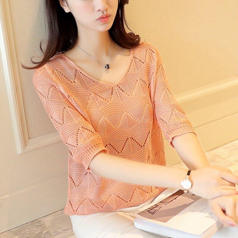 หลวมฤดูร้อนส่วนบาง bottoming เสื้อเสื้อสุทธิ (สีชมพู)