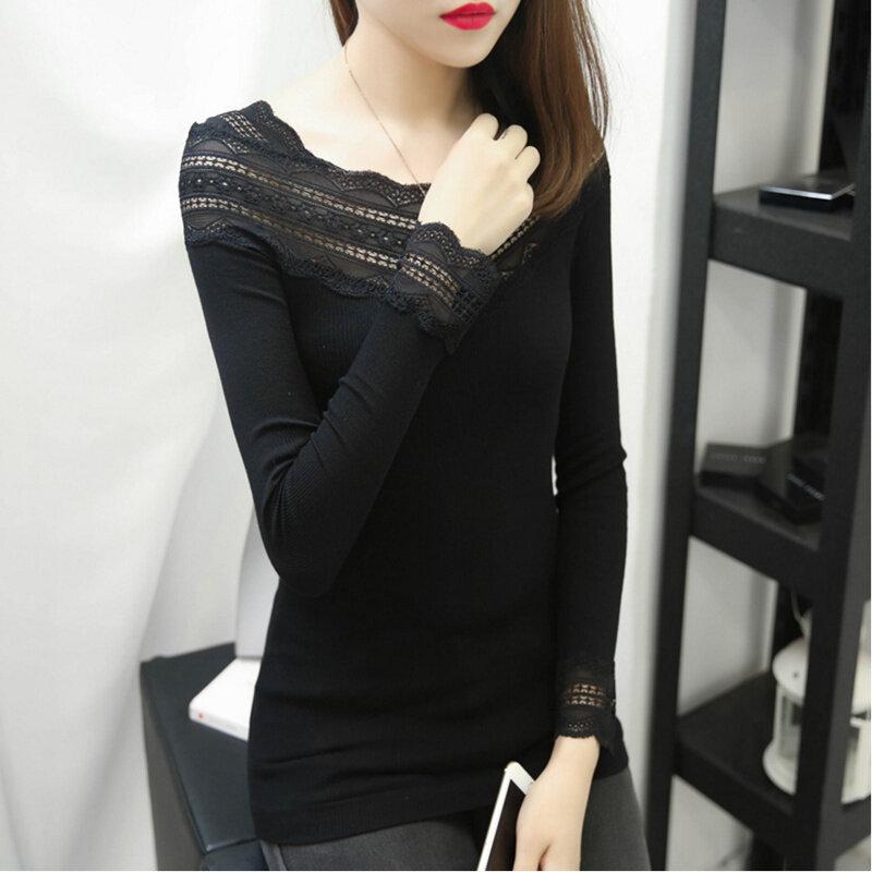 เสื้อยืดสีดำภายในนั่ง bottoming เสื้อเกาหลีถัก (สีดำ 925 รุ่น)