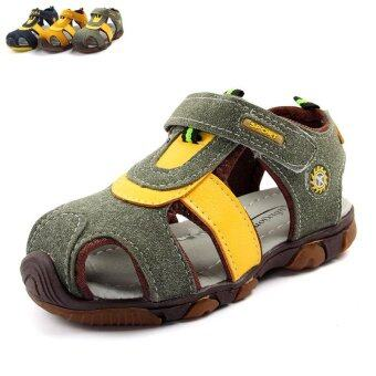 Boy's 15-20cm Foot Length Non-slip Leather Fashion Sandals(Color:Army Green) - intl