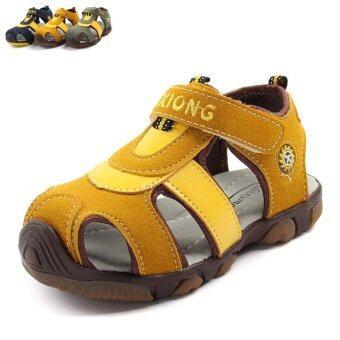 Boy's 15-20cm Foot Length Non-slip Leather Fashion Sandals(Color:Brown) - intl