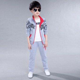 Boys (Teens) Spring and Autumn Sports and Casual Printed Two-pieceSuit (Grey). intl