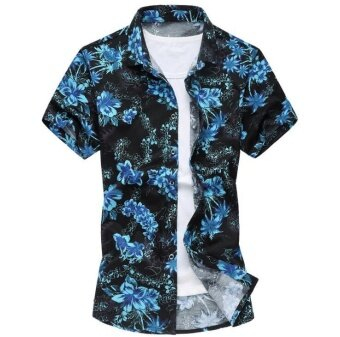 Brand Flower Print Hawaiian Style Men's Casual Short Sleeve Shirt 2017 Summer New Cotton Shirt(blue) - intl