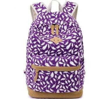 Brand High Quality Canvas Bag Backpack School for Teenager Girl Laptop Bag Feather Printing Mochila Rucksack Women Backpacks - intl