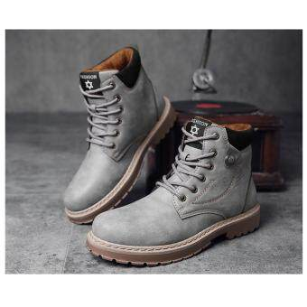 British style men's Martin boots scrub suede boots retro high-top tooling shoes tide shoes Jeans locomotive boots
