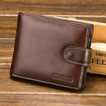 BROWN cross section Mens leather short zipper retro hasp WALLETWallet - intl .