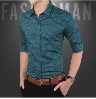 Business Men Long Sleeve Purified Cotton Shirt SlimVentilation Polka Dot Shirt-Green - intl
