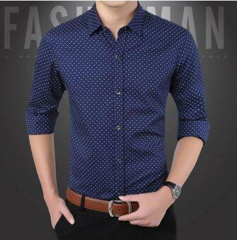 Business Men Long Sleeve Purified Cotton Shirt SlimVentilation Polka Dot Shirt-Navy Blue - intl