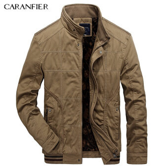 BYL caranfier jackets Mens high COLLAR WARM โคตส์ parkas (สีกากี)