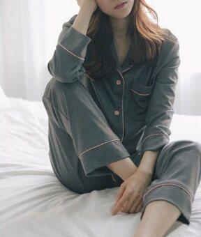 BYL สตรี Long-แขน two-Piece ฝ้ายชุดนอน/pyjamas (สีเทาเข้ม)