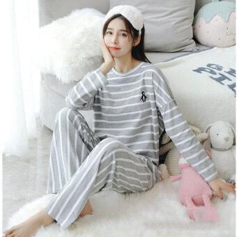 BYL PURE ฝ้าย Stripped Long-แขนชุดนอน/loungewear (สีเทา)