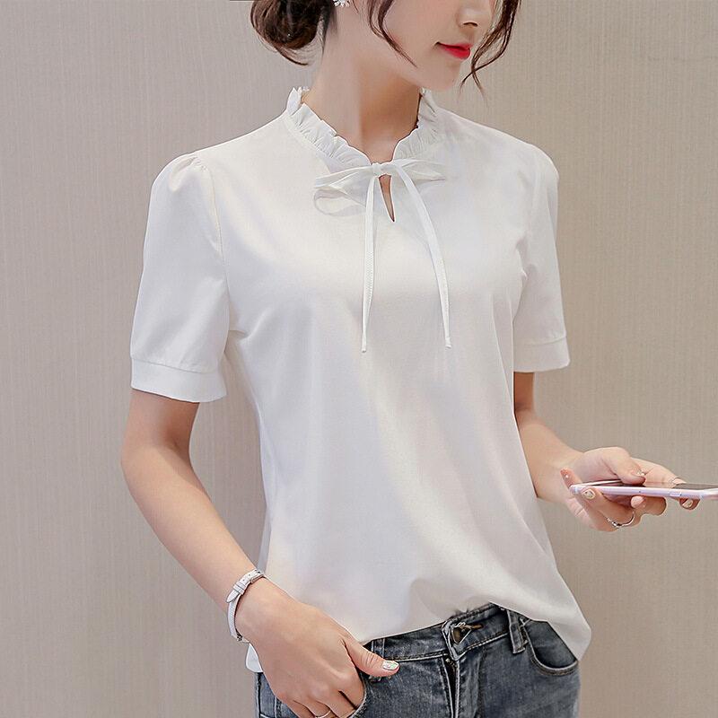BYL เสื้อชีฟองน่าจดจำสตรี SHORT-แขน White จังแฟชั่นเสื้อเชิ๊ตแขน (สีขาว)