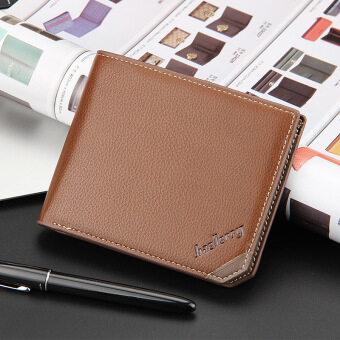 BYT Baellery Luxurious Cross Style Bifold Short Leather Men WalletDG128 ( Brown)