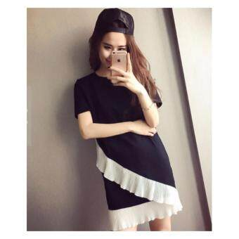 Harga candy Summer O Neck Short Sleeves Woman Stiching Woman Dress(black)