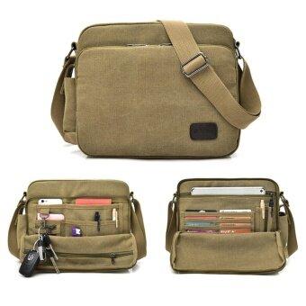 กระเป๋าสะพายข้างผู้ชาย สะพายไหล่ แคนวาส Canvas Messenger Style Bag สีกากี (Khaki)