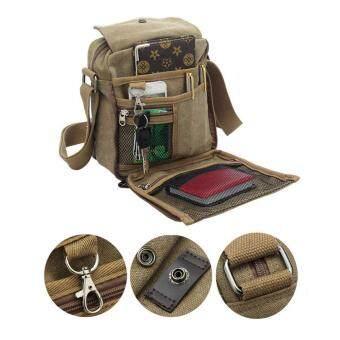 ต้องการขาย กระเป๋าสะพายข้างผู้ชาย สะพายไหล่ แคนวาส ขนาดพกพา Canvas Messenger Style Bag สีกากี (Khaki)