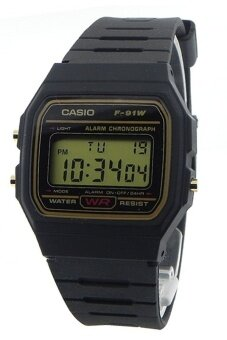 Casio นาฬิกาผู้ชาย สีดำ สายเรซิ่น รุ่น F-91WG-9QDF