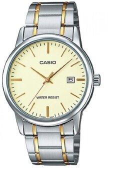 Casio นาฬิกาข้อมือผู้ชาย สีทอง สายสแตนเลส รุ่น MTP-V002SG-9AUDF